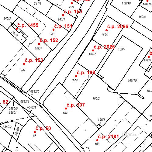 Katastrální mapa Stavební objekt Boskovice 108, Boskovice