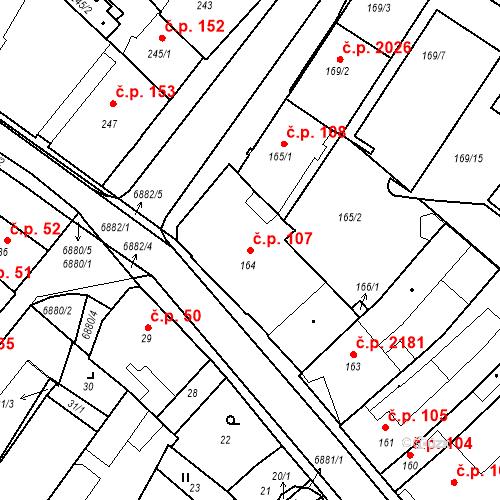 Katastrální mapa Stavební objekt Boskovice 107, Boskovice