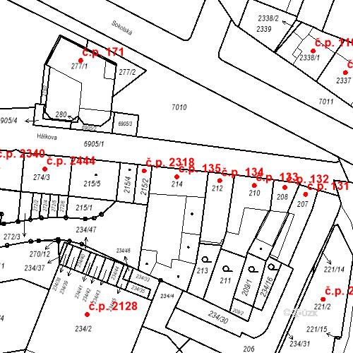 Katastrální mapa Stavební objekt Boskovice 135, Boskovice