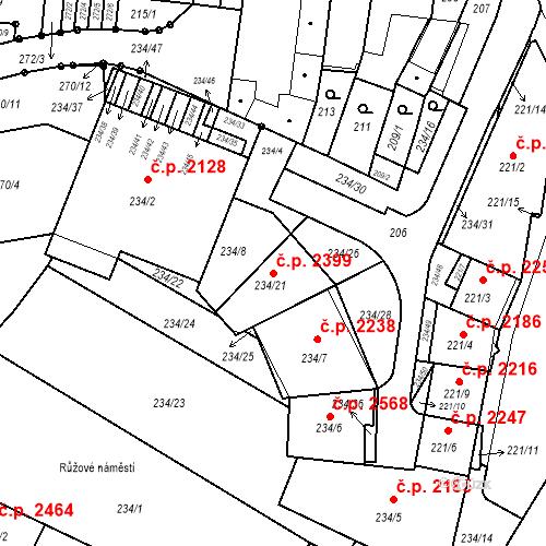 Katastrální mapa Stavební objekt Boskovice 2399, Boskovice