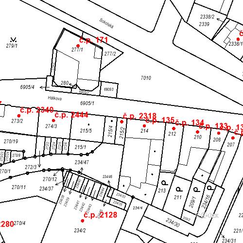 Katastrální mapa Stavební objekt Boskovice 2318, Boskovice
