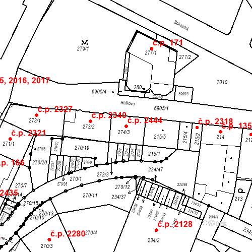 Katastrální mapa Stavební objekt Boskovice 2444, Boskovice