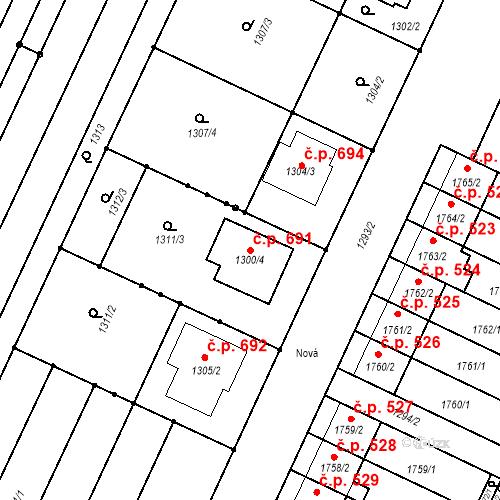 Katastrální mapa Stavební objekt Sokolnice 691, Sokolnice