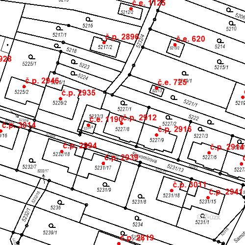 Katastrální mapa Stavební objekt Líšeň 2912, Brno