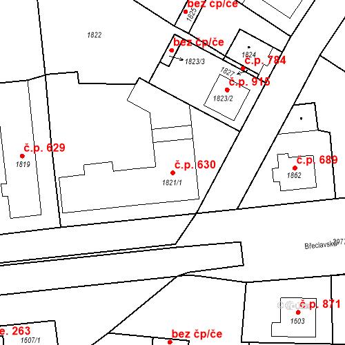 Katastrální mapa Stavební objekt Valtice 630, Valtice