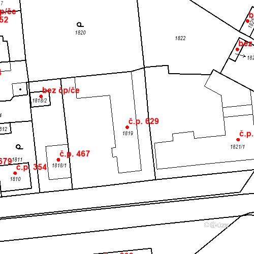 Katastrální mapa Stavební objekt Valtice 629, Valtice