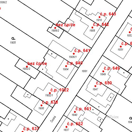Katastrální mapa Stavební objekt Valtice 640, Valtice