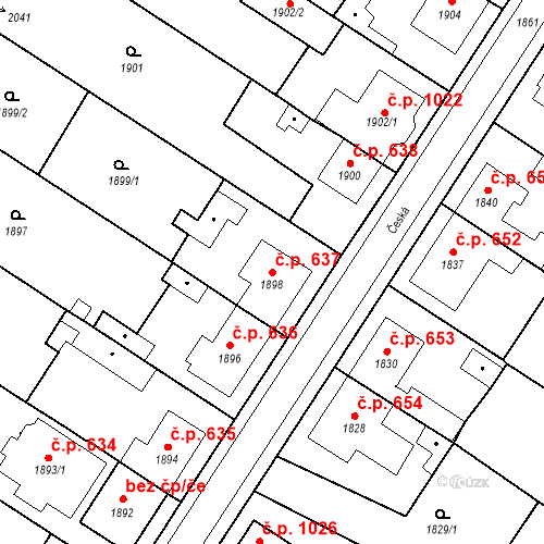 Katastrální mapa Stavební objekt Valtice 637, Valtice