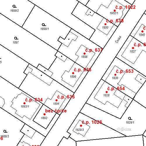 Katastrální mapa Stavební objekt Valtice 636, Valtice