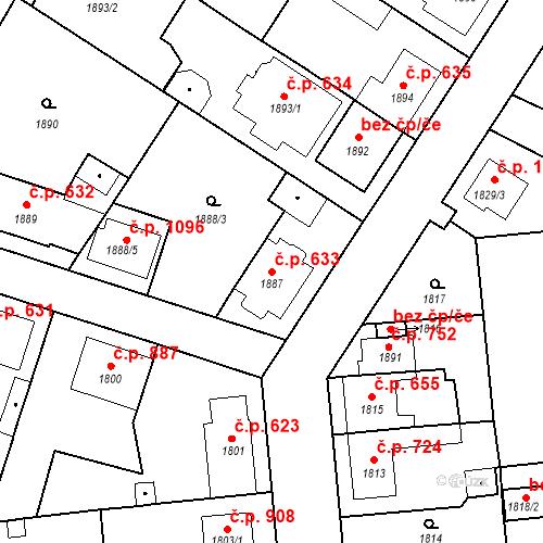 Katastrální mapa Stavební objekt Valtice 633, Valtice
