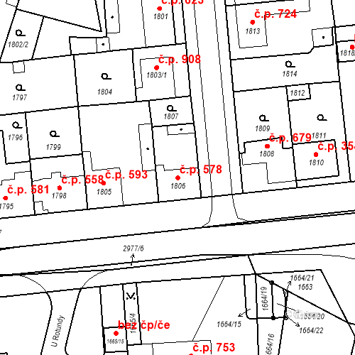 Katastrální mapa Stavební objekt Valtice 578, Valtice