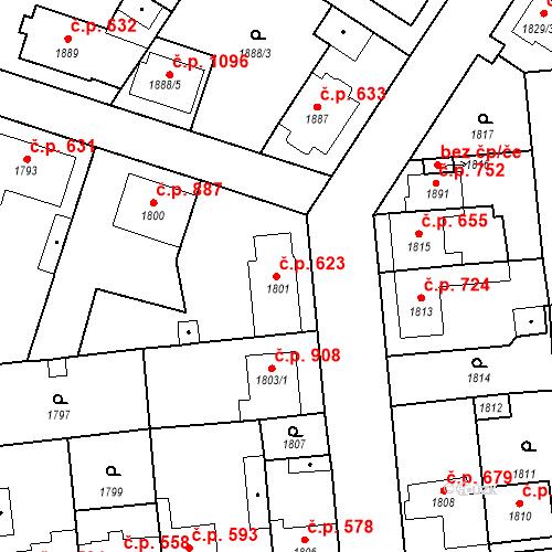 Katastrální mapa Stavební objekt Valtice 623, Valtice