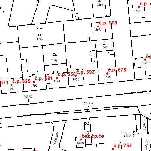 Katastrální mapa Stavební objekt Valtice 593, Valtice