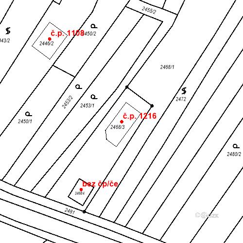 Katastrální mapa Stavební objekt Valtice 1216, Valtice