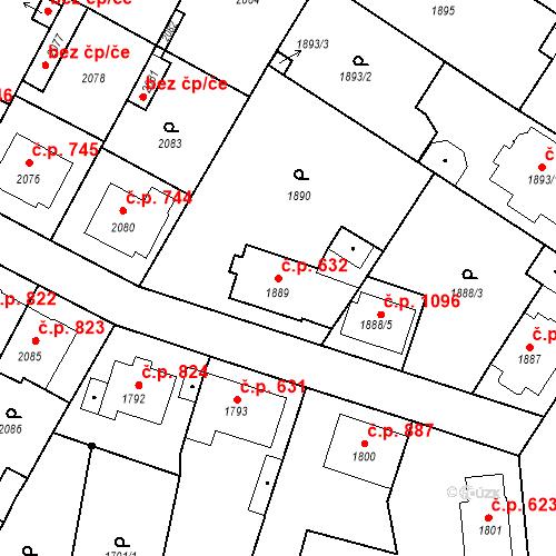 Katastrální mapa Stavební objekt Valtice 632, Valtice