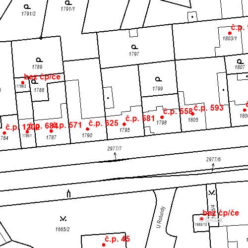 Katastrální mapa Stavební objekt Valtice 581, Valtice