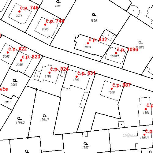 Katastrální mapa Stavební objekt Valtice 631, Valtice