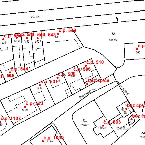 Katastrální mapa Stavební objekt Valtice 503, Valtice