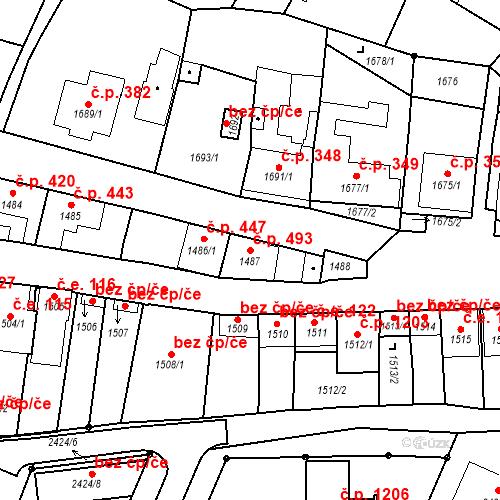 Katastrální mapa Stavební objekt Valtice 493, Valtice