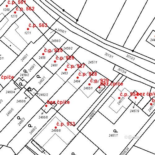 Katastrální mapa Stavební objekt Valtice 928, Valtice