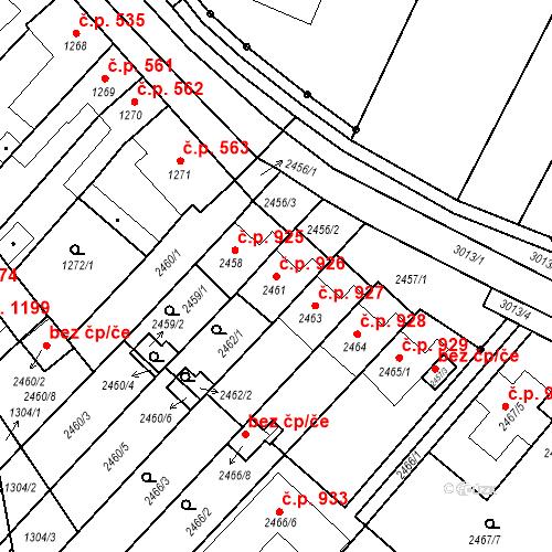 Katastrální mapa Stavební objekt Valtice 926, Valtice