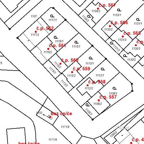 Katastrální mapa Stavební objekt Hlohovec 559, Hlohovec