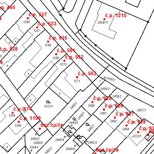Katastrální mapa Stavební objekt Valtice 563, Valtice