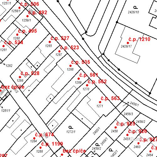 Katastrální mapa Stavební objekt Valtice 561, Valtice