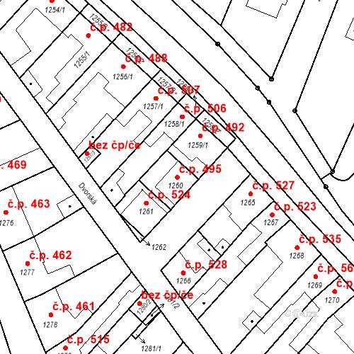 Katastrální mapa Stavební objekt Valtice 495, Valtice