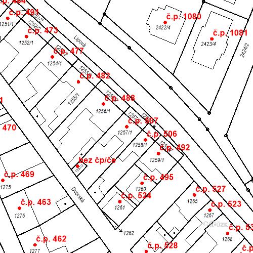 Katastrální mapa Stavební objekt Valtice 507, Valtice