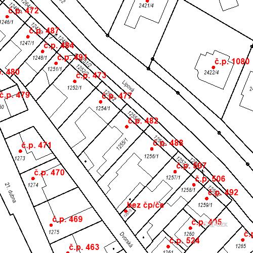 Katastrální mapa Stavební objekt Valtice 482, Valtice