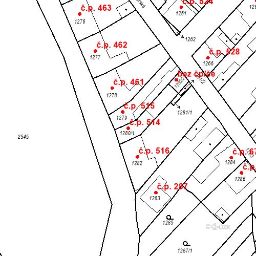 Katastrální mapa Stavební objekt Valtice 514, Valtice