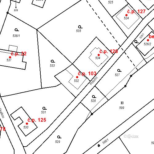 Katastrální mapa Stavební objekt Klepačov 103, Blansko