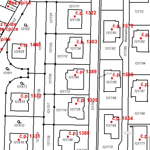 Katastrální mapa Stavební objekt Slatina 1389, Brno