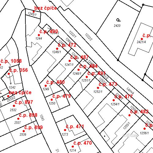 Katastrální mapa Stavební objekt Valtice 484, Valtice