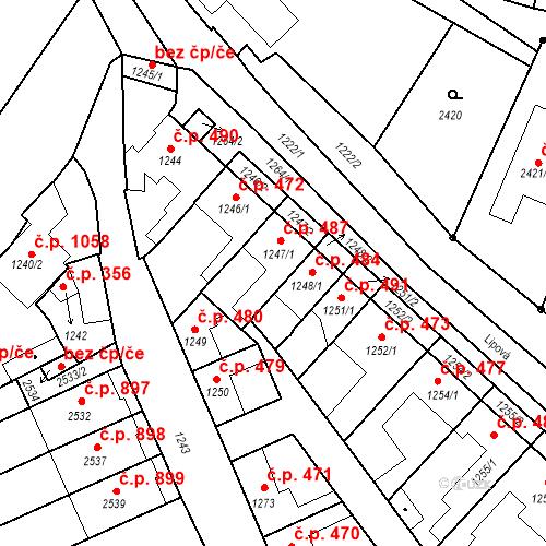 Katastrální mapa Stavební objekt Valtice 487, Valtice
