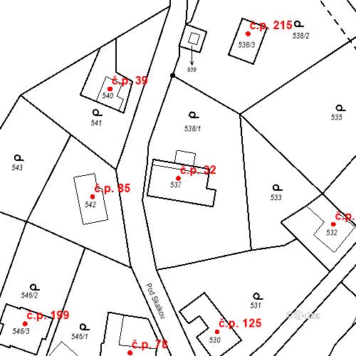 Katastrální mapa Stavební objekt Klepačov 32, Blansko
