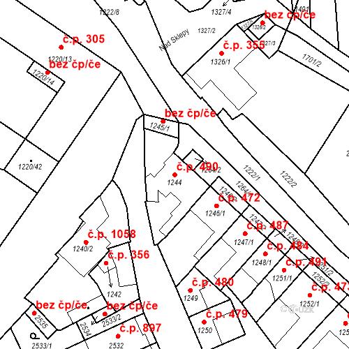 Katastrální mapa Stavební objekt Valtice 490, Valtice