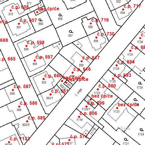 Katastrální mapa Stavební objekt Valtice 616, Valtice