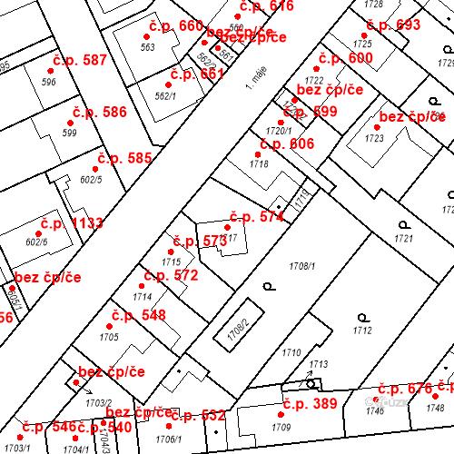Katastrální mapa Stavební objekt Valtice 574, Valtice