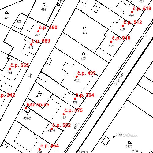 Katastrální mapa Stavební objekt Valtice 499, Valtice