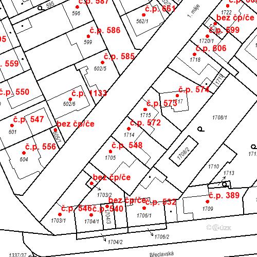 Katastrální mapa Stavební objekt Valtice 572, Valtice