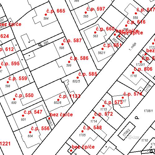 Katastrální mapa Stavební objekt Valtice 585, Valtice