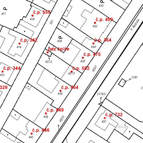 Katastrální mapa Stavební objekt Valtice 552, Valtice