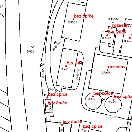 Katastrální mapa Stavební objekt Boskovice 141, Boskovice
