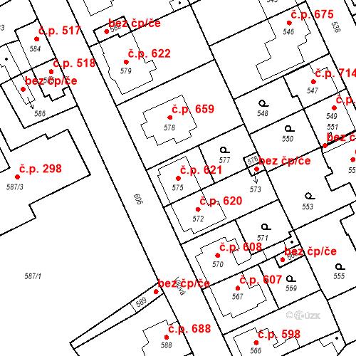 Katastrální mapa Stavební objekt Valtice 621, Valtice