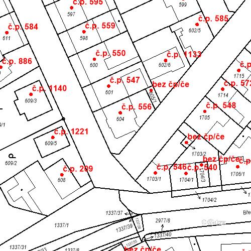 Katastrální mapa Stavební objekt Valtice 556, Valtice