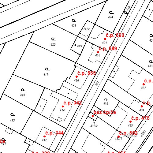 Katastrální mapa Stavební objekt Valtice 555, Valtice