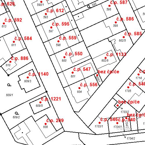 Katastrální mapa Stavební objekt Valtice 547, Valtice