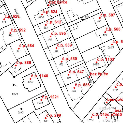 Katastrální mapa Stavební objekt Valtice 550, Valtice